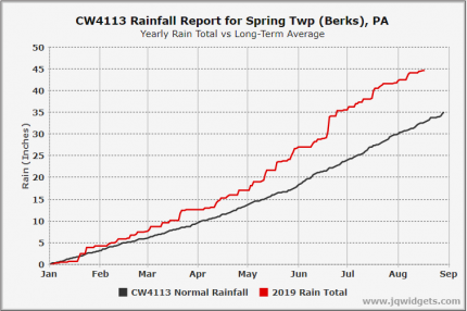 CW4113 2019 Rainfall Total vs Long Term Average